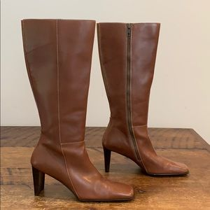 Anne Klein Tall Squared Toe Side Zip Leather Boots